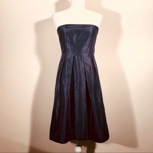 J.Crew silk navy strapless dress